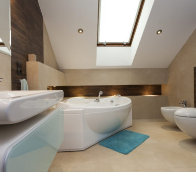 Interior of contemporary bathroom with huge bathtub