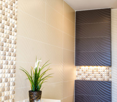Modern bathroom corner in beige color