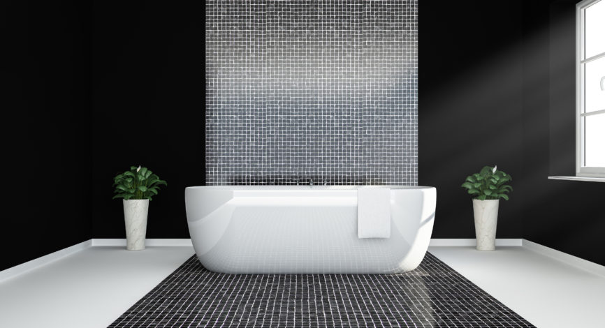 black and white bathroom 3d rendering